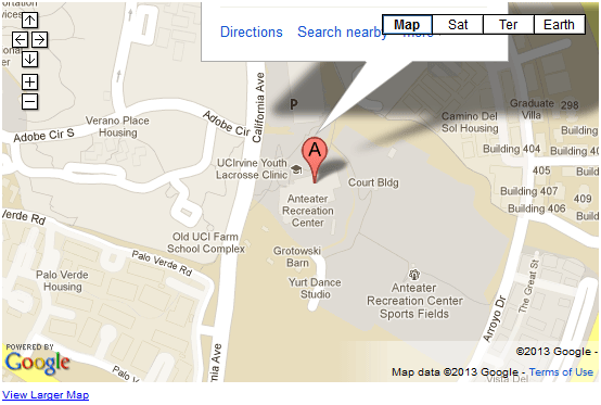 UCI Anteater Recreation Center Google Map Graphic